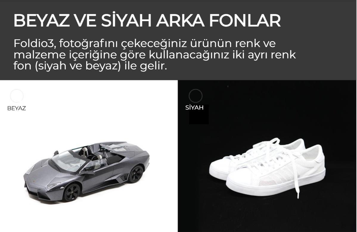 Foldio3 Beyaz Siyah Arka Fon Ortalı Resim