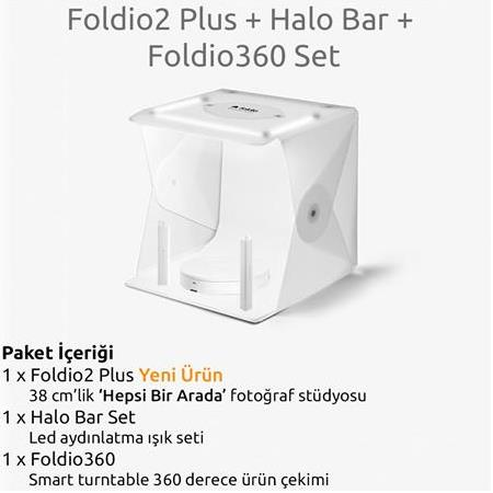 Foldio2 Plus + Halo Bar + Foldio360 Smart Turntable 360 Derece Ürün Çekim Seti